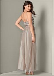 Back View Embellished Mesh Long Dress
