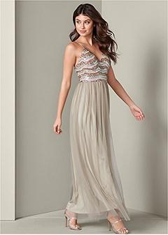 embellished mesh long dress