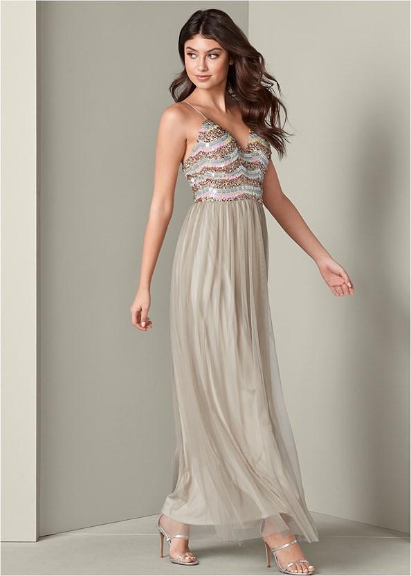 Embellished Mesh Long Dress,High Heel Strappy Sandals