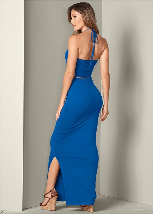 STRAPPY BACK MAXI DRESS,BRAIDED DETAIL WEDGES,HOOP EARRINGS