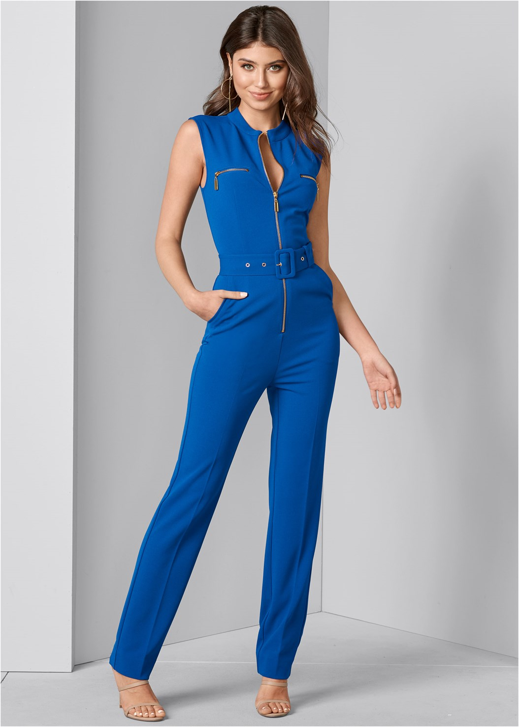 Belted Jumpsuit,Satin Lace Bra/Thong Set,High Heel Strappy Sandals