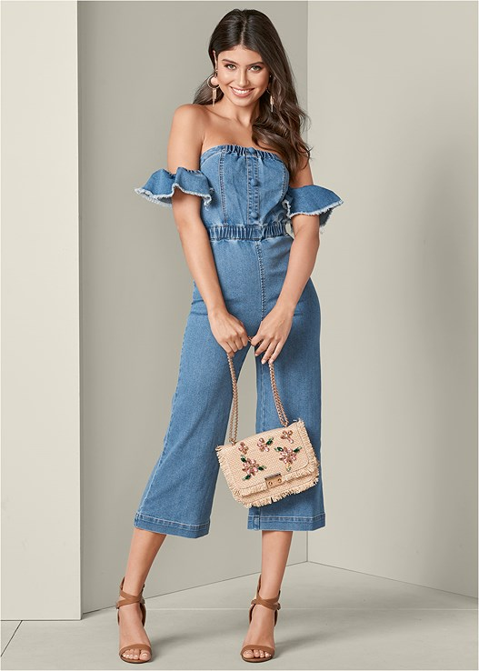 RUFFLE DENIM JUMPSUIT,EVERYDAY YOU STRAPLESS BRA,RAFFIA DETAIL HEELS,FLOWER EMBELLISHED HANDBAG