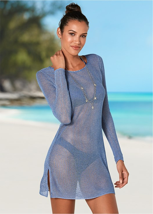 OPEN BACK TUNIC COVER-UP,ENHANCER PUSH UP TRIANGLE,SCOOP FRONT BIKINI BOTTOM,STARFISH BELLY CHAIN