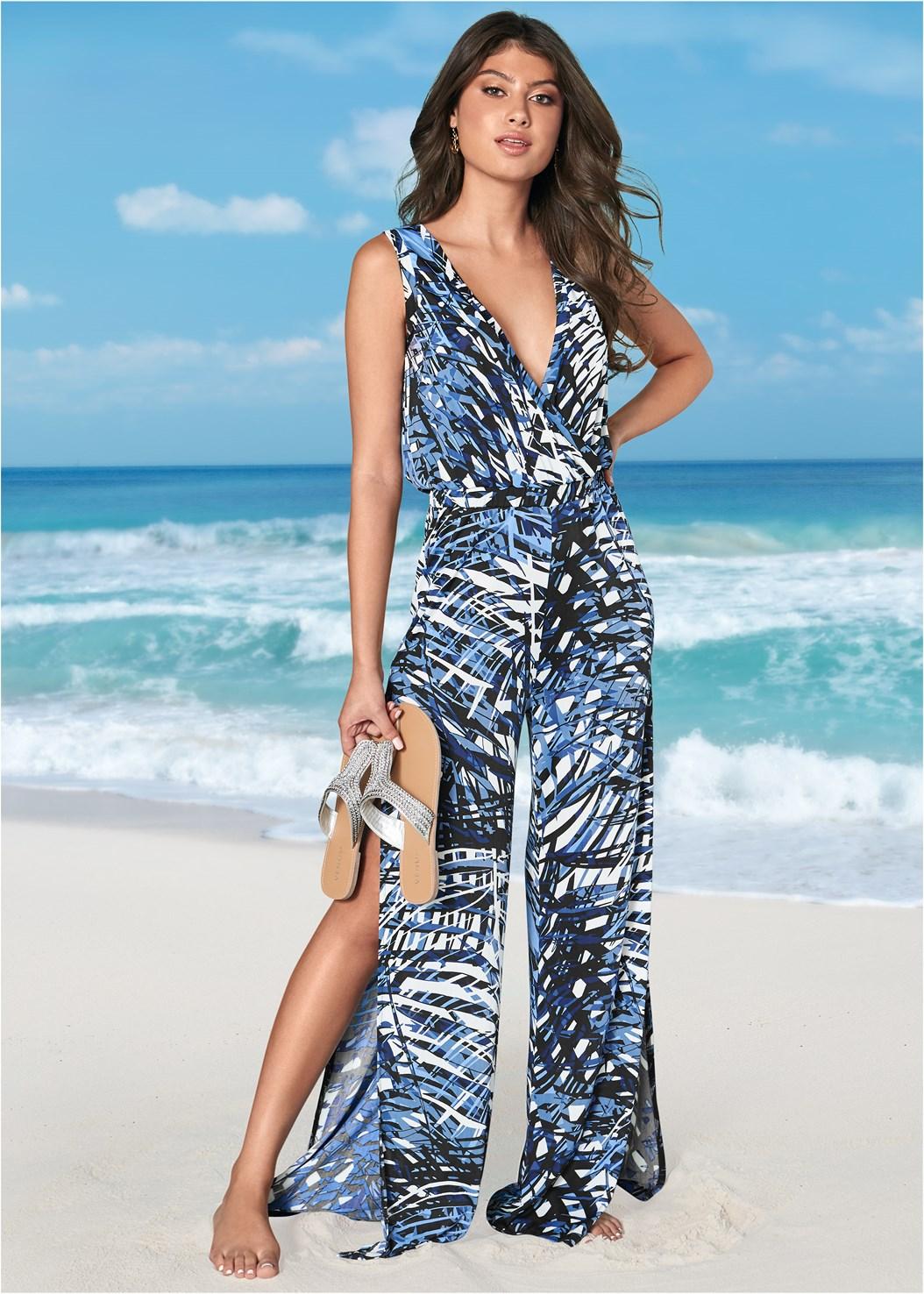 Slit Leg Jumpsuit Cover-Up,Triangle String Bikini Top,Scoop Front Bikini Bottom