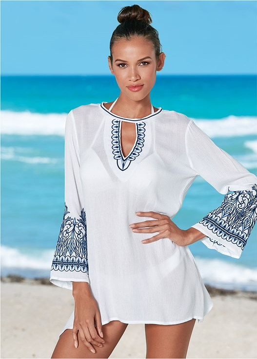 EMBROIDERED COVER-UP,ENHANCER PUSH UP TRIANGLE,LOW RISE BIKINI BOTTOM,SCOOP FRONT BIKINI BOTTOM