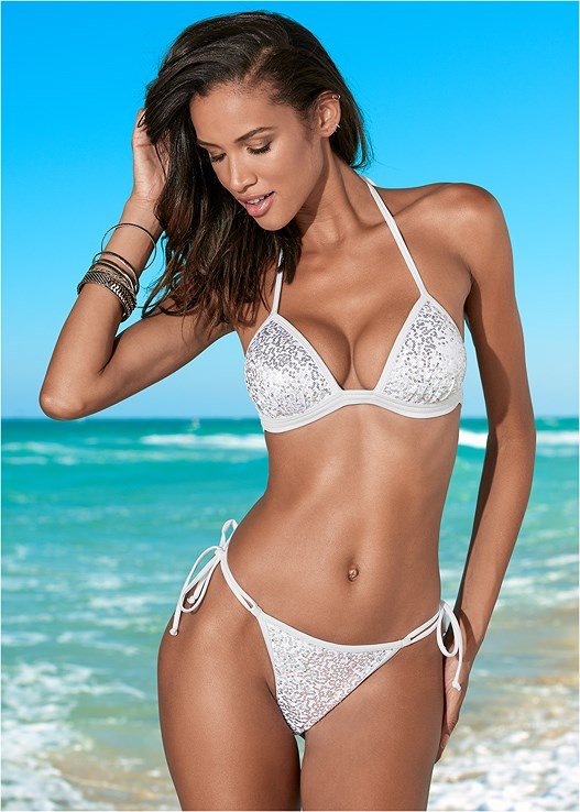 0aadf48c17d81 White Sequins ENHANCER PUSH UP TRIANGLE Bikini