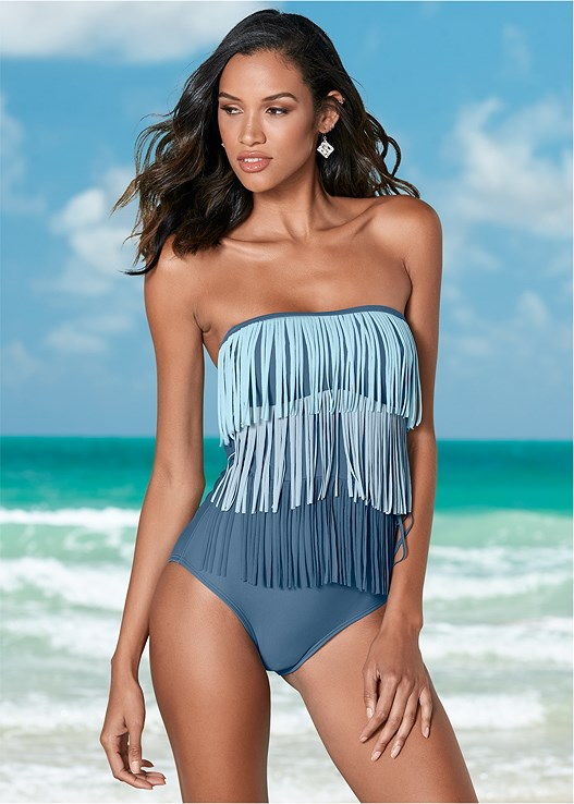 SLIMMING FRINGE ONE-PIECE,OFF THE SHOULDER COVER-UP,CRUSHABLE COWBOY HAT