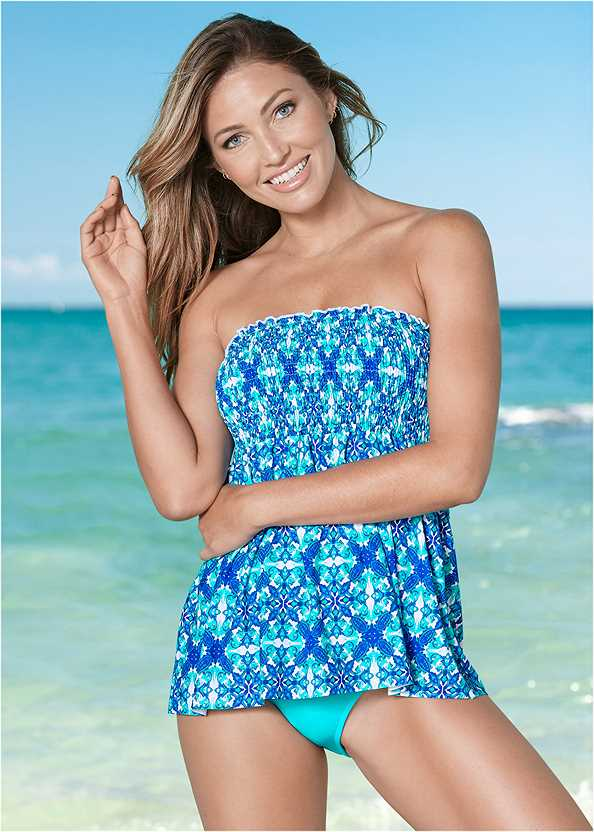 Smocked Tankini Top,Mid Rise Hipster Classic Bikini Bottom,Full Coverage Mid Rise Hipster Bikini Bottom,Mid Rise Swim Skirt Bikini Bottom