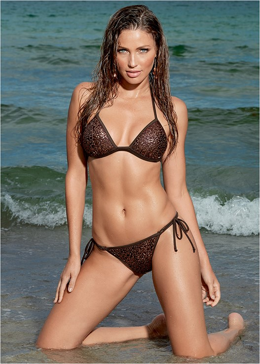 SEQUIN STRING BIKINI BOTTOM,ENHANCER PUSH UP TRIANGLE