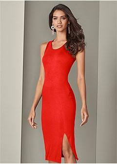 high slit midi dress