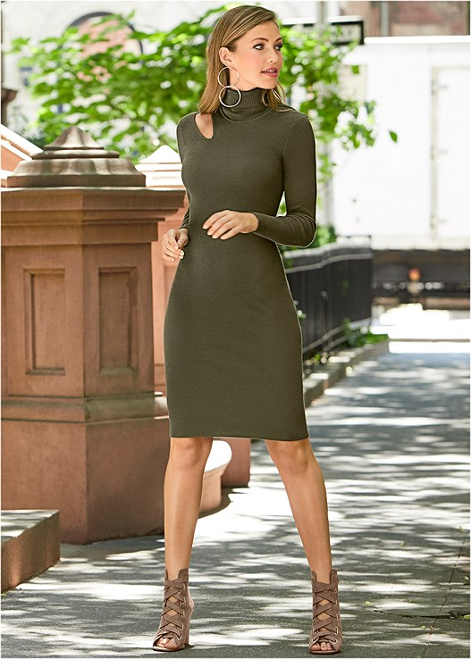 CUT OUT SWEATER DRESS,PEEP TOE LACE UP BOOTIE