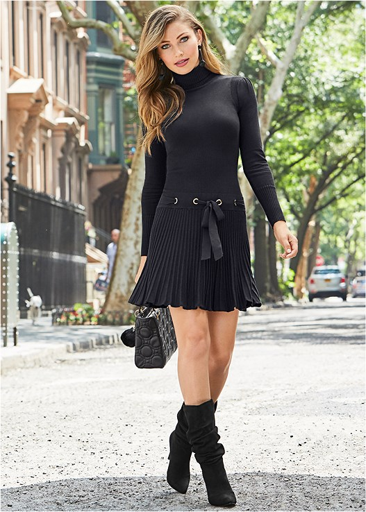 PLEATED SWEATER DRESS,BLOCK HEEL BOOTS,TIE BACK BOOTS,HIGH HEEL SLOUCH BOOT,BAUBLE HOOP EARRINGS,PEARL KNIT BEANIE