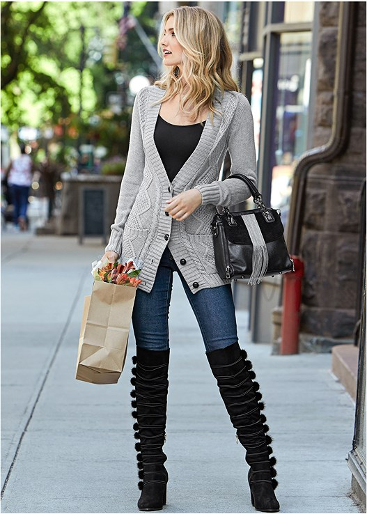 EXTRA LONG CARDIGAN,COLOR SKINNY JEANS,SEAMLESS CAMI,POM POM OVER THE KNEE BOOT