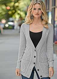 Cropped Front View Extra Long Cardigan