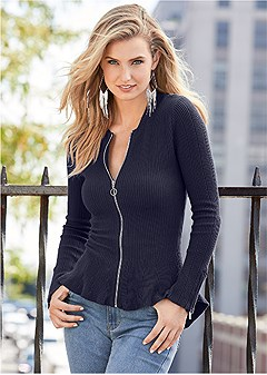 zipper front peplum sweater