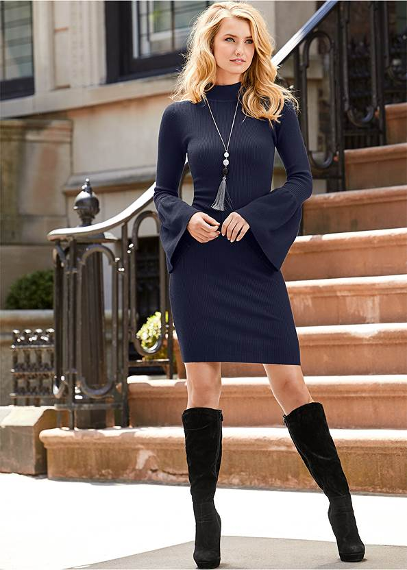 Sleeve Detail Sweater Dress,Stretch Back Boots,Long Circle Earrings,Studded Faux Leather Tote