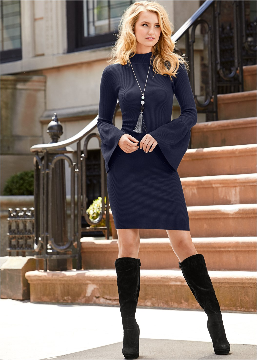 Sleeve Detail Sweater Dress,Slouchy Mid-Calf Boot