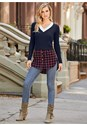 Front View Twofer Color Block Sweater
