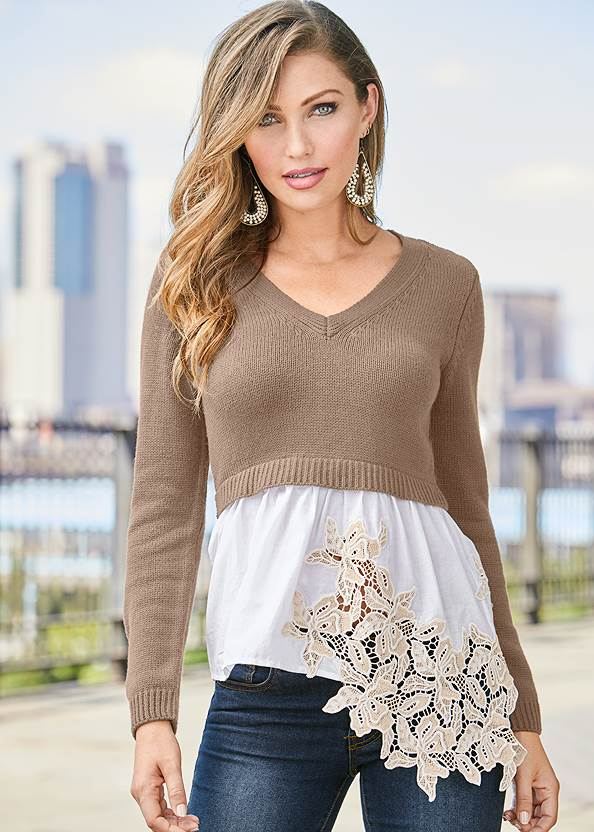 Applique Detail Sweater,Mid Rise Color Skinny Jeans,Lace Up Tall Boots,Beaded Drop Earrings