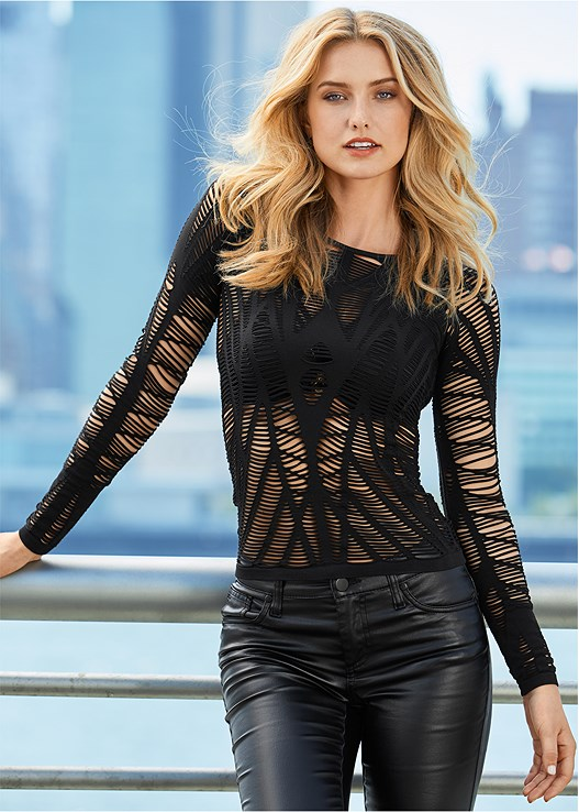 SEAMLESS CUT OUT TOP,KISSABLE STRAPPY PUSH UP,FAUX LEATHER LEGGINGS