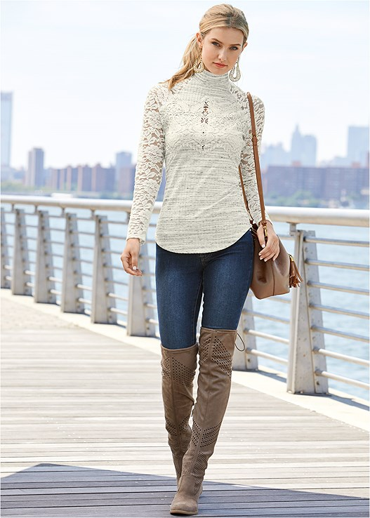LACE DETAIL MOCK NECK TOP,COLOR SKINNY JEANS,BRA WITH A HEART,PERFORATED BOOTS
