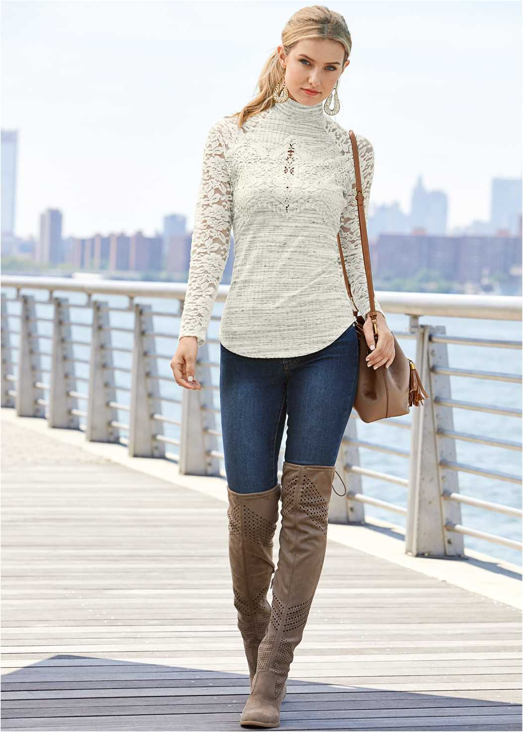 Lace Detail Mock Neck Top,Mid Rise Color Skinny Jeans,Beaded Drop Earrings