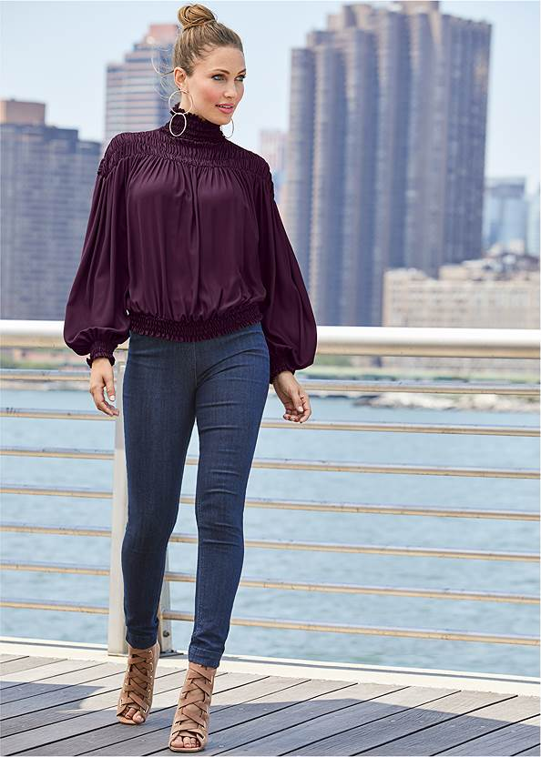 Smocked Detail Top,Mid Rise Color Skinny Jeans,Mid Rise Slimming Stretch Jeggings,Lace Up Tall Boots