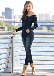 Front View Off Shoulder Denim Jumpsuit