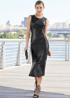 faux leather midi dress