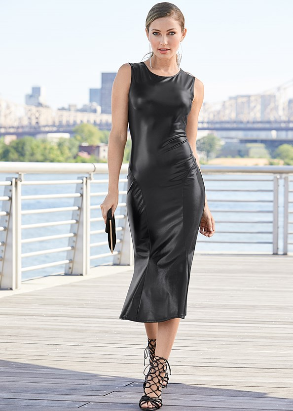 Faux Leather Midi Dress,High Heel Strappy Sandals,Rhinestone Fringe Earrings