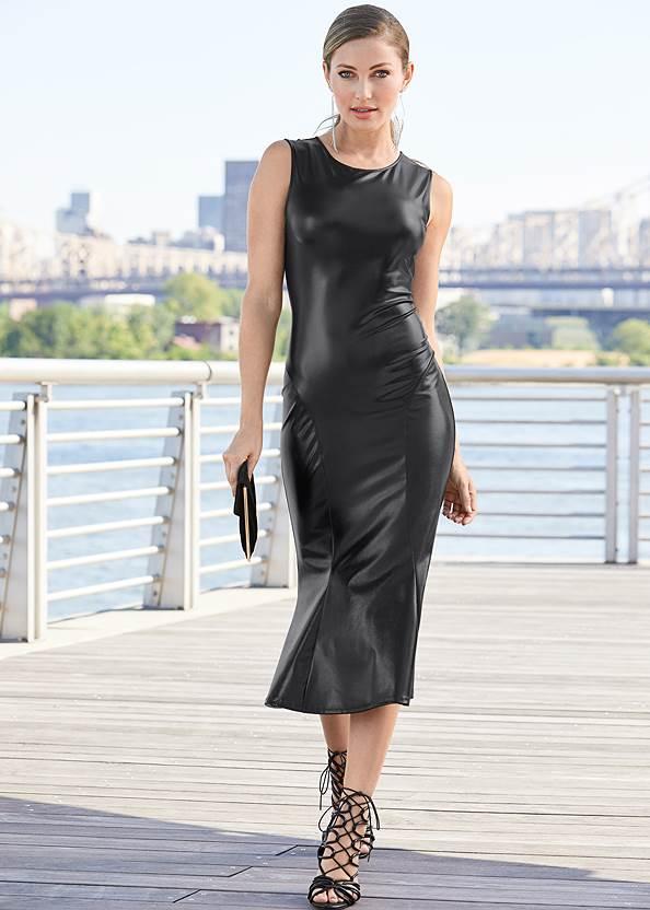 Faux Leather Midi Dress,High Heel Strappy Sandals,Rhinestone Fringe Earrings