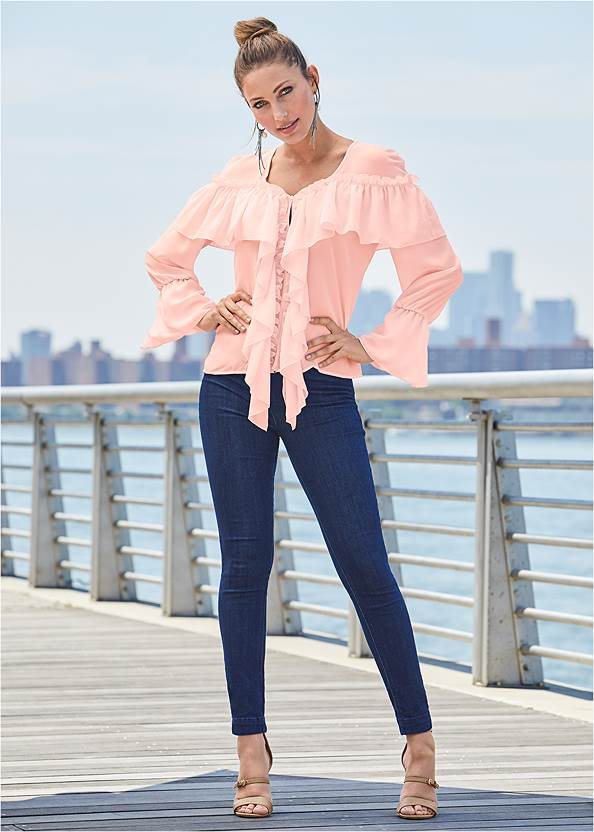 Ruffle Detail Top,Mid Rise Slimming Stretch Jeggings