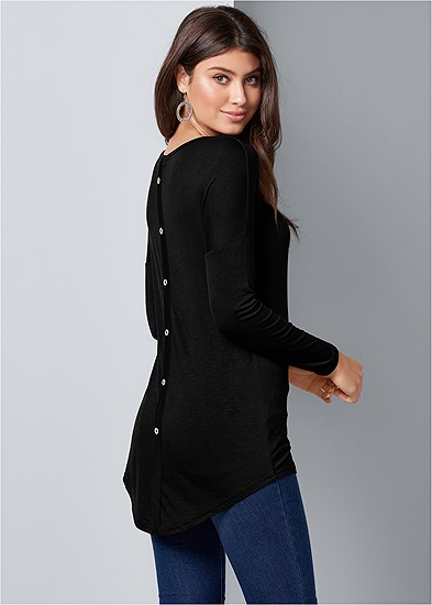 button back scoop neck top
