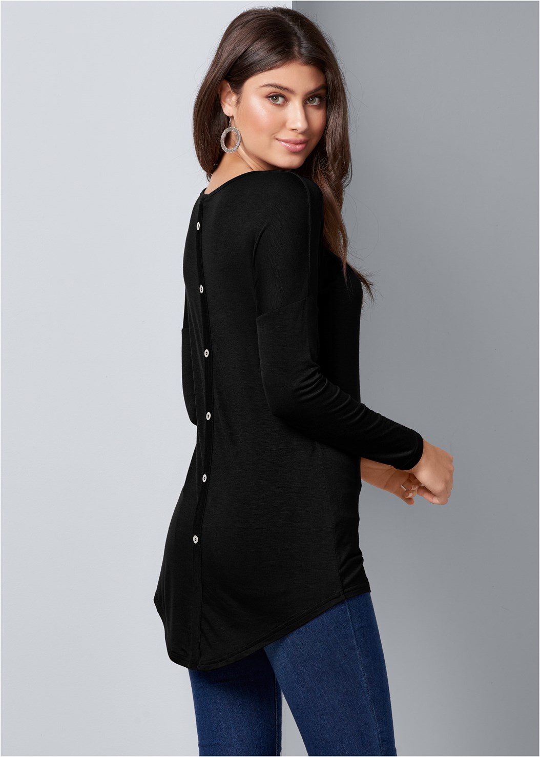 Button Back Scoop Neck Top,Mid Rise Color Skinny Jeans,Wrap Stitch Detail Booties,Over The Knee Mini Tie Boot