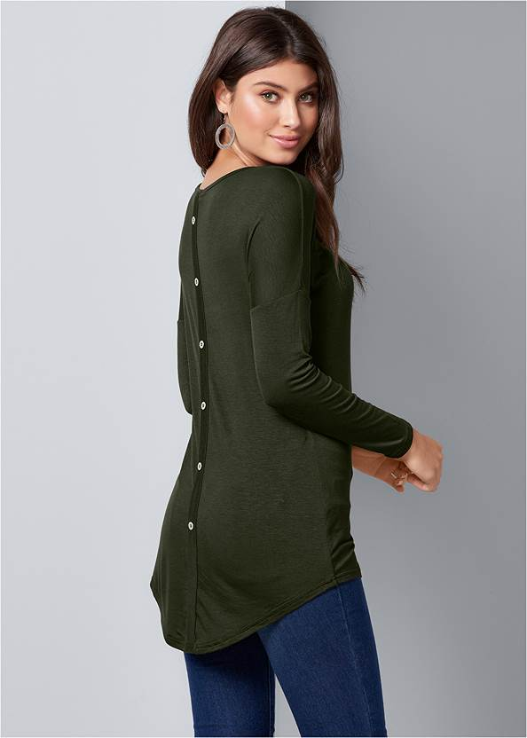 Cropped back view Button Back Scoop Neck Top