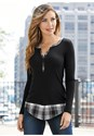 Front View Ribbed Henley Top