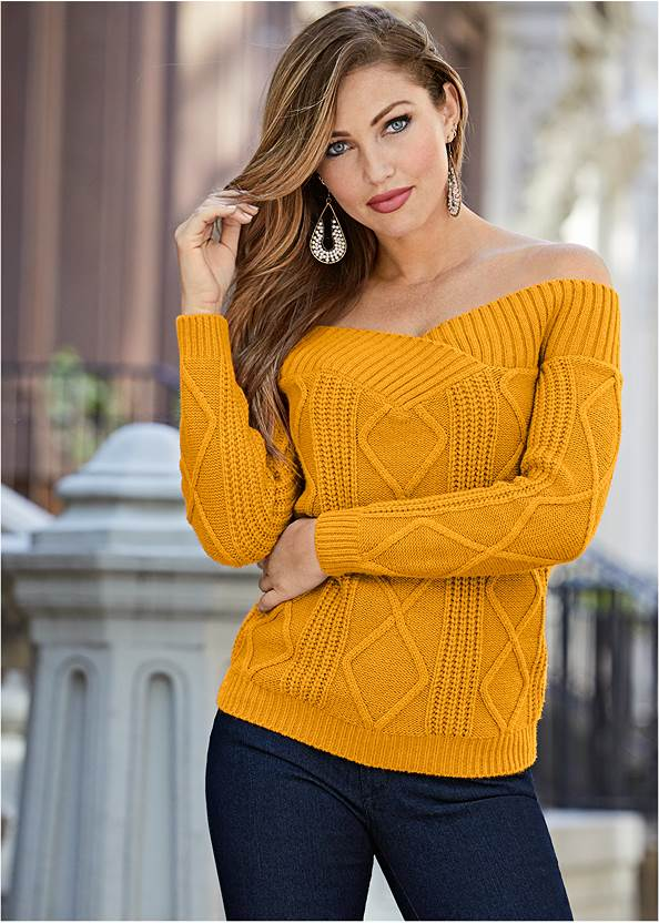 Off The Shoulder Sweater,Mid Rise Color Skinny Jeans,Lace Up Tall Boots,Beaded Drop Earrings