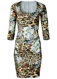 Alternate View Print Lace Bodycon Dress