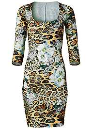 Alternate View Print Lace Bodycon Dress