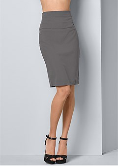 slimming pencil midi skirt