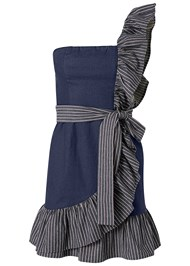 Alternate View Ruffle Detail Denim Dress