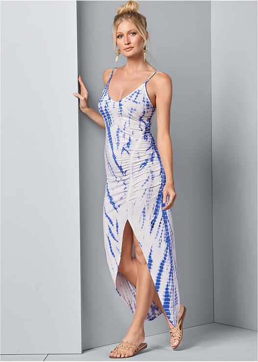 RUCHED MAXI LOUNGE DRESS,STUDDED STRAPPY SANDALS