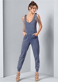 Front View Tie Shoulder Jumpsuit