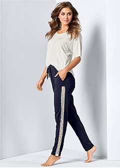 mesh inset lounge pants