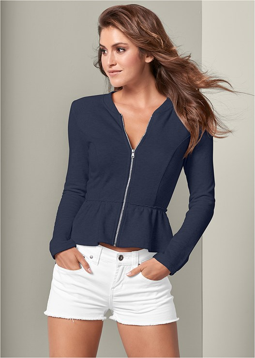 PEPLUM LOUNGE JACKET,CUT OFF JEAN SHORTS,FLOWER DETAIL WEDGES
