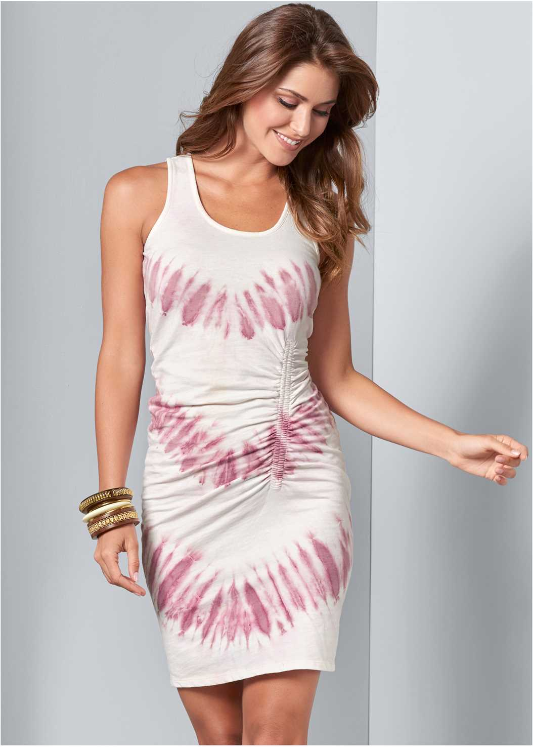 Tie Dye Ruched Lounge Dress,Pullover Lace Bra,Strappy Toe Ring Sandals,Bead Detail Crochet Bag