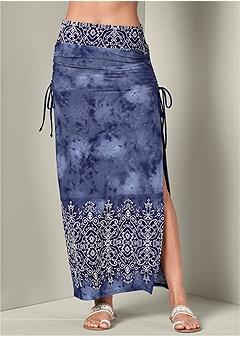 ruching detail maxi skirt