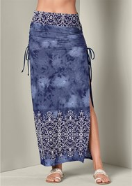 Front View Ruching Detail Maxi Skirt