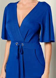 Alternate View Tie Front V-Neck Midi Dress
