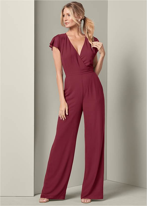 Cross Front Jumpsuit,High Heel Strappy Sandals
